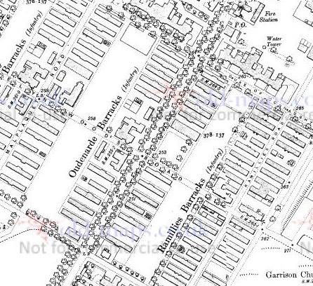 1911 Map showing Oudenarde Barracks in Aldershot