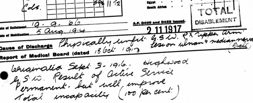 Notes on Archie's Army Pension Record.