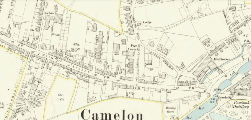 1896 Map showing location of Cemetery Road in Camelon.