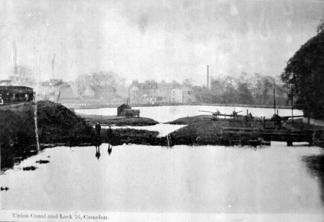 An appropriately bleak photo looking across the Union Canal Basin at Lock 16 (c1904).