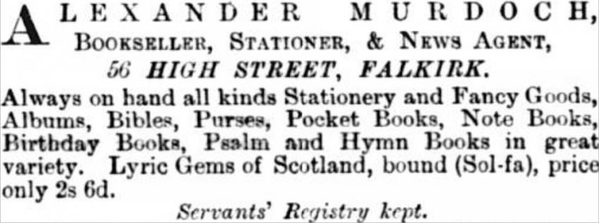 Newspaper Ad for Alexander Murdoch's new business.