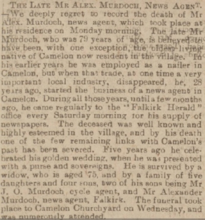 Alexander's 1903 Obituary