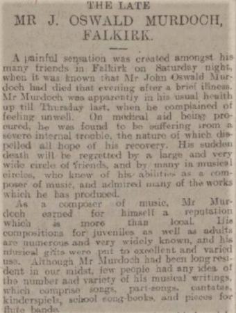 John Oswald Murdoch's obituary (abridged)