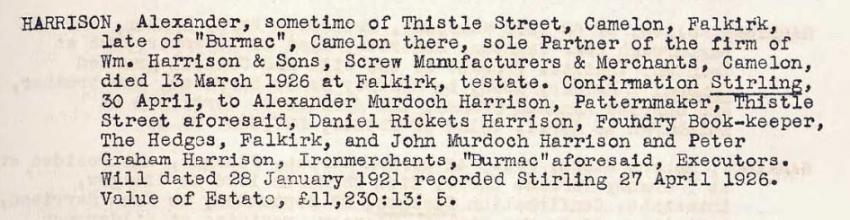 Confirmation of Executors 1926