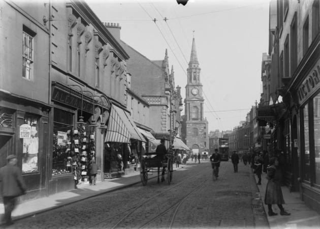 Falkirk High Street (c1910) - (No. 56 at far left.)