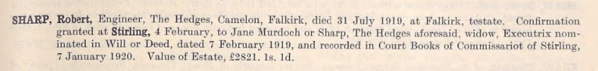 Confirmation of Executor 1919