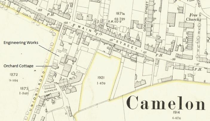 Burnside Terrace shown on 1896 map.