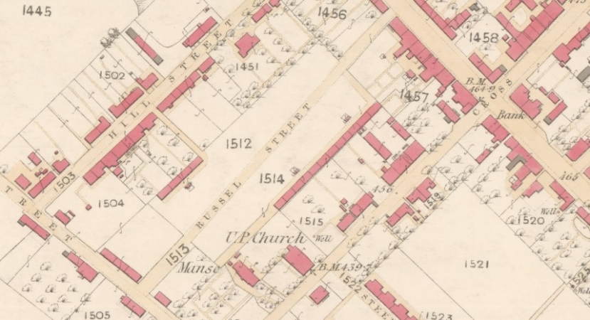 1859 Map of Wishaw showing Russell Street with the Rows set back from the street and fronted by the shared washhouses.