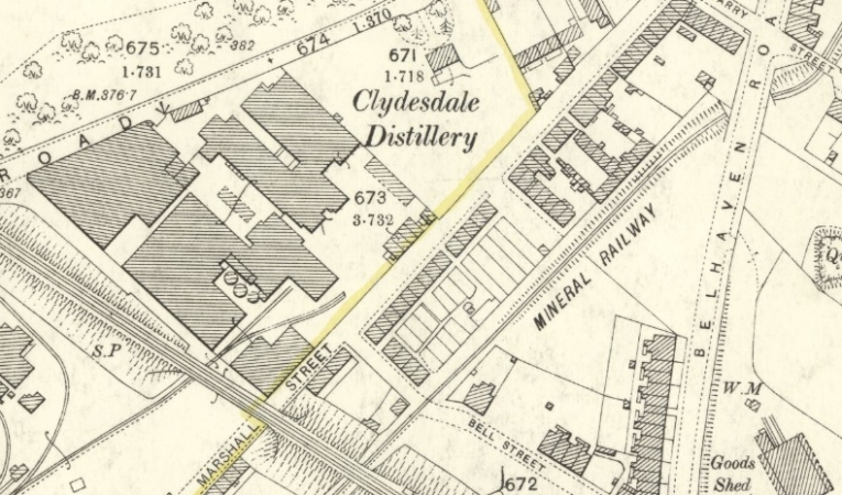 1896 Map of Marshall Street in Wishaw.
