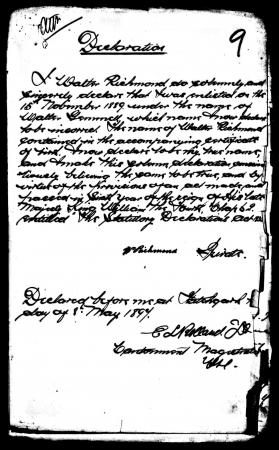 William Richmond's Declaration