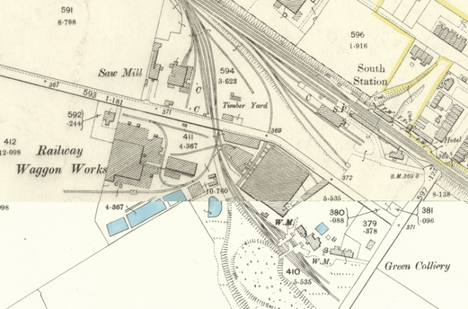 1896 Map showing Railway Wagon Works in Wishaw