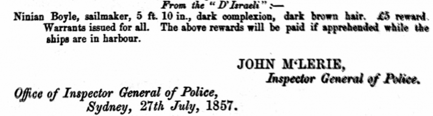 New South Wales Police Gazette, 1857