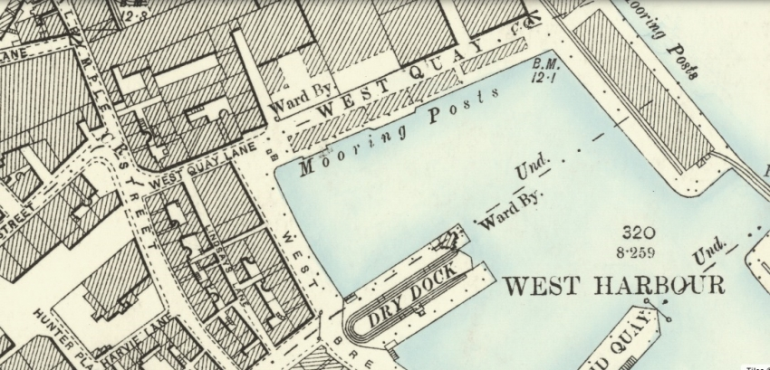 1896 Map showing location of West Quay Lane in Greenock.