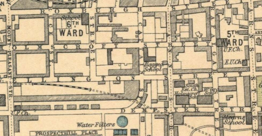 1914 Map showing location of Greenock Ragged School at the junction of Captain Street and Holmscroft Road.
