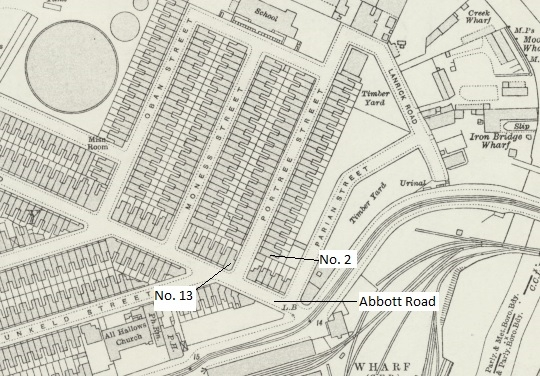 1914 Map showing location of Abbott Road and Portree Street dwellings.