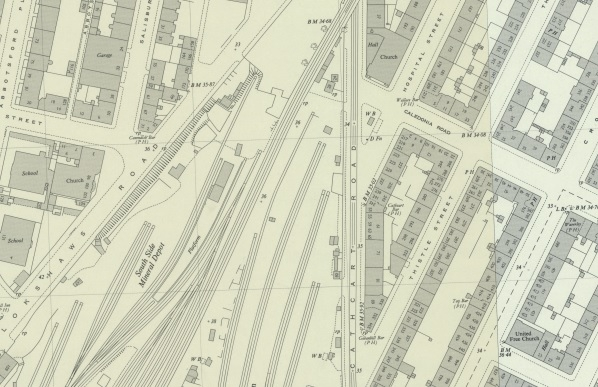 1951 map showing location of 243 Hospital Street at its junction with Cathcart Road.