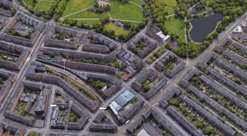 South-facing aerial view showing 85 Niddrie Road and Strathbungo Higher Grade Secondary School located at 83 Craigie Street.